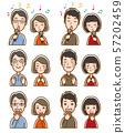 夫婦,表情,例證 57202459