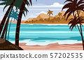 Seascape beach landscape ocean - Exotic plants leaves and palms. Sun and clouds. Trendy design 57202535