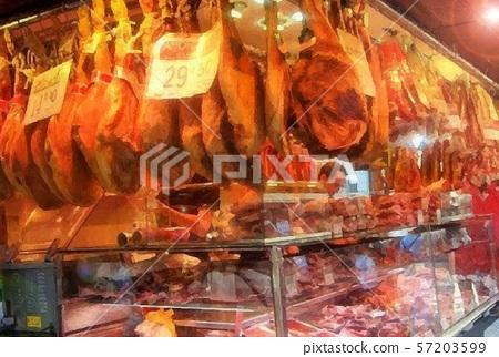 西班牙巴塞羅那觀光圖像La Boqueria市場意大利熏火腿 57203599