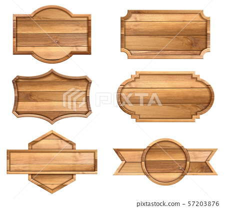 Set of wooden sign isolated on white background. 57203876