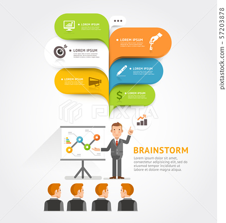 Business teamwork brainstorm with bubble speech. 57203878