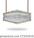 Wooden sign hanging on a chain isolated on white 57203916