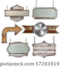 Set of old metal steel sign isolated on white 57203919