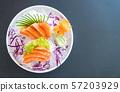 fresh salmon sashimi 57203929