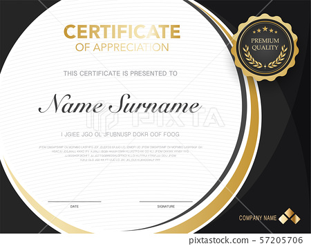 diploma certificate template black and gold color. 57205706