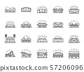 Sports stadium line icon set 57206096