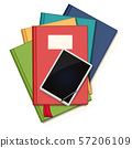 Books and tablet on white background illustration 57206109