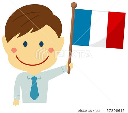 種族和旗子/商人/辦公室工作者男性上身例證/法國 57206615
