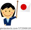 인종과 국기 / 비지니스 맨 · 회사원 여성 상반신 일러스트 / 일본 57206618
