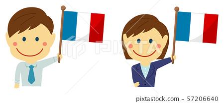 種族和國旗/商人,辦公室工作者男人和婦女上身例證/法國 57206640