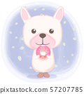 Cute puppy with donut cartoon watercolor 57207785