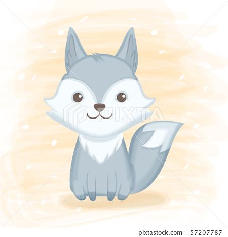 Cute foxy hand drawn cartoon illustration 57207787