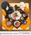 테이블 주위에 냄비 파티, 방에서 단란 57209061