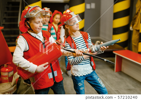 Children with hose and extinguisher, little heroes 57210240