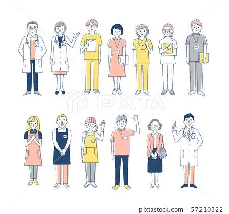 의료 복지 인물 세트 13 명의 핑크 57210322