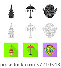 Isolated object of and travel icon. Collection of and traditional stock vector illustration. 57210548