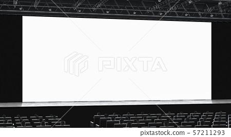 Cinema hall with auditorium watching on blank screen mockup 57211293