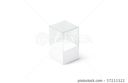 Blank white glass podium cube mockup, isolated, side view 57211322