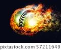 ลูกเบสบอลห่อด้วยเปลวไฟ 57211649