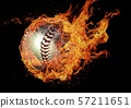 Baseball ball wrapped in flame 57211651