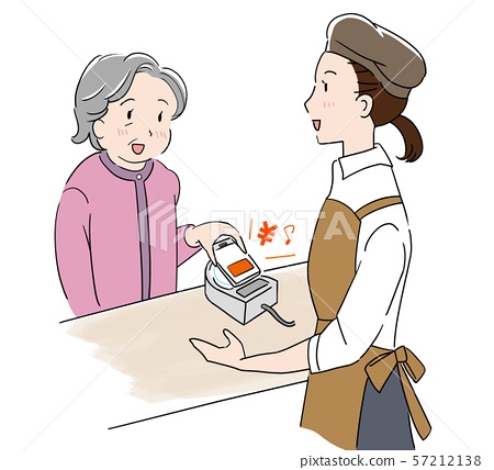 A grandmother and a clerk holding a smartphone with cashless ID payment 57212138