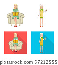 Vector illustration of posture and mood sign. Set of posture and female vector icon for stock. 57212555