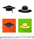 Isolated object of clothing and cap sign. Set of clothing and beret stock symbol for web. 57213478
