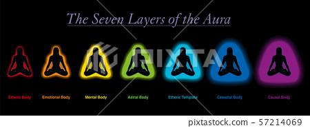 Aura Layers Meditating Woman Black Background 57214069