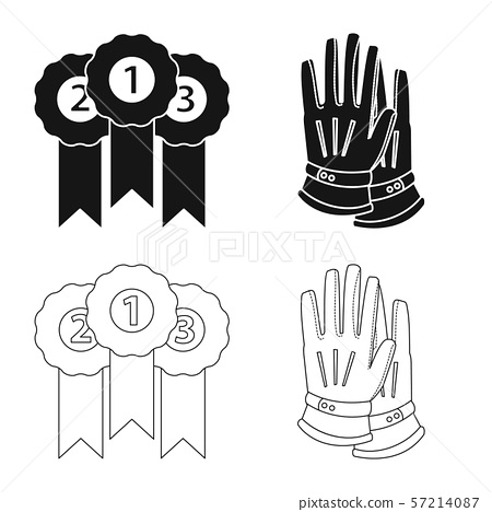 Vector illustration of equipment and riding icon. Set of equipment and competition stock symbol for 57214087