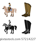 Vector illustration of equipment and riding icon. Set of equipment and competition stock symbol for 57214227