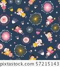 Fairy and flowers seamless vector kids pattern. Children background for girls on dark background 57215143