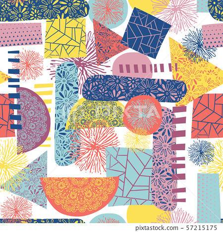 Pattern clash abstract contemporary shapes seamless vector background. Collage background tile blue 57215175