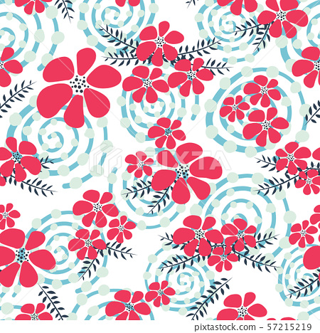 Red and blue winter flowers seamless vector background. Floral vector repeat tile Scandinavian style 57215219