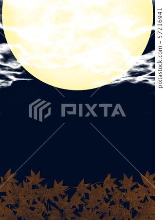 秋天滿月夜藍色背景 57216941