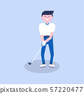 Golf cartoon player in modern flat style 57220477