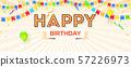 Happy birthday card. Vector 3d illustration 57226973