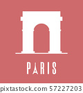 Silhouette icon of Triumphal Arch. Paris logo 57227203
