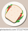 Vector drawing. Breakfast concept. Appetizing delicious sandwich. 57227439