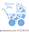 Newborn baby vector illustration Baby stroller 57228179