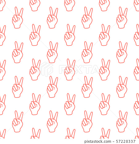 Pattern with sign of victory Gesture of the hand. 57228337