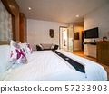 Luxury room with bed in warm light, Classic Europe style. 57233903