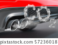 Car pipe with co2 carbon dioxide emissions. 57236018