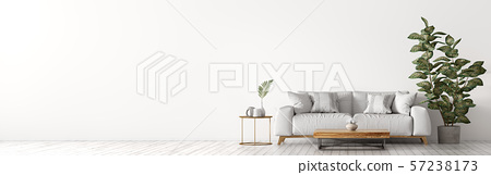 Interior of living room with white sofaand coffee 57238173