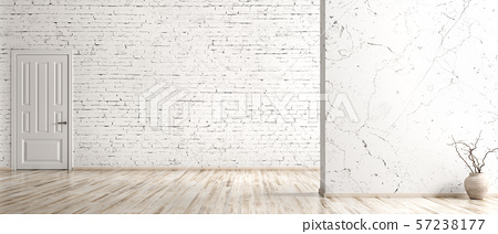 Interior background of empty room with brick wall, 57238177