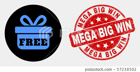 Vector Free Gift Icon and Distress Mega Big Win Stamp 57238502