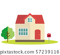 Residential house, illustration, one house, my home, wood post 57239116
