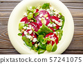 Top view at mediterranean roasted beet salad with 57241075
