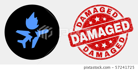 Vector Airplane Crash Icon and Distress Damaged Watermark 57241725