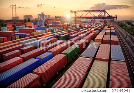 Container vagoons in export and import business and logistics.