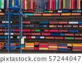 Container vagoons in export and import business and logistics. 57244047